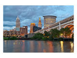 Cleveland with River & Bridge Posters