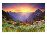 Sunset in Mountain Landscape Poster