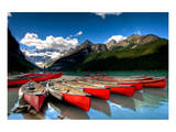 Red Canoes Scenic Lake Louise Posters