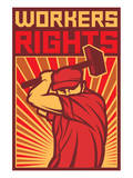 Stylized Workers Rights Poster Premium Giclee Print