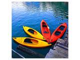 Yellow & Red Kayak On The Lake Prints