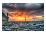 Paris City Scene At Sunset Poster