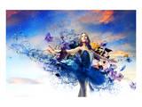 Ballerina & Blue Painted Dress Kunstdrucke