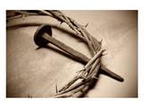Jesus Crown of Thorns & Nail Giclee-tryk i høj kvalitet