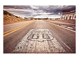 Old Route 66 Shield on Road Prints