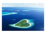 Maldivian Heart Shape Island - Birinci Sınıf Giclee Baskı