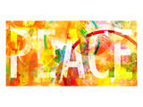Grunge Collage With Peace Typo Print