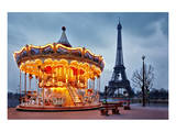 Vintage Carousel Eiffel Tower Art