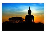 Black Buddha Silhouette atDusk Posters