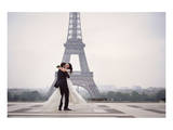 Bride & Groom at Eiffel Tower Prints