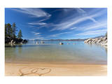 Lake Tahoe Beach With 2 Hearts Posters