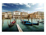Gondolas on Pier Venice Italy Prints