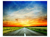 Long Country Road to Sunset Prints