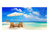 Sandy Tropic Beach Umbrella Posters