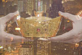 Holding Chinese New Year Gold Ingot, Night City View Photographic Print by  XiXinXing