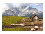 Dolomites With Chalet Italy Poster