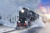 Retro Steam Train. Photographic Print by Breev Sergey