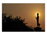Black Buddha Silhouette atDusk Art