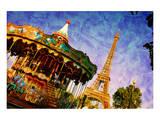 Eiffel Tower &Vintage Carousel Print