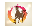 Multicolor Chinese New Year of Horse 2014 Zen Background Prints by  cienpies
