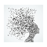 Woman Head Music Notes Splash Premium Giclee Print by  cienpies