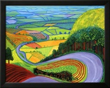 Heuvellandschap Garrowby Hill Poster van David Hockney