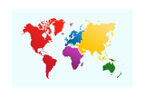 World Map, Colorful Print by  cienpies