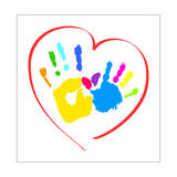 Mother's and Kid's Hands in A Heart Prints by  portarefortuna