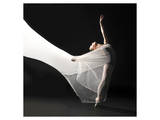 Ballet Dancer Jump White Veil Affiches
