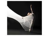 Ballet Dancer Jump White Veil Poster
