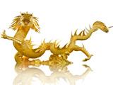 Giant Golden Chinese Dragon Poster by  Gamjai