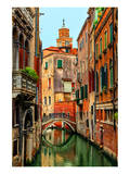 Romantic Green Venice Canal Art