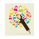 Diversity People Concept Pencil Tree Print by  cienpies