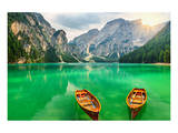 Boats Lake Dolomite Alps Italy Posters