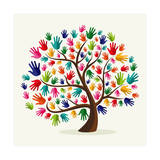Colorful Solidarity Hand Tree Premium Giclee Print by  cienpies