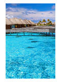Maldives Bungalows &Blue Water Print