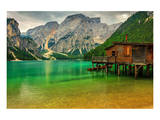 Hut Braies Lake Dolomiti Italy Poster