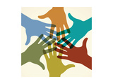 Colorful Raised Hands. the Concept of Diversity. Group of Hands. Giving Concept. this Work - Eps10 Prints by  VLADGRIN