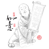 Sketch of Chinese Little Monk Presenting Scroll with Chinese New Year Wishes Photo by  yienkeat