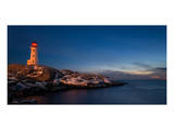 Peggys Cove's Lighthouse Dusk Posters