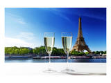 Champaign Glasses Eiffel Tower Prints