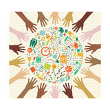 Education Global Icons Human Hands. Premium Giclee Print by  cienpies