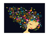 Beautiful Women Abstract Hair Illustration Affiches par  cienpies