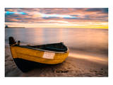 Old Boat at Sunset Beach Print