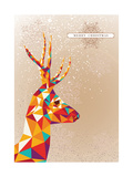 Merry Christmas Colorful Reindeer Shape Illustration. Prints by  cienpies