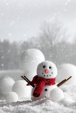 Snowman with Winter Snow Background Photographic Print by  Sandralise