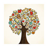 Education Concept Tree with Books Prints by  cienpies