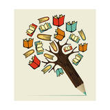 Reading Education Concept Pencil Tree Art by  cienpies
