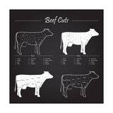 Beef Meat Cuts Scheme on Blackboard Premium Giclee Print by  ONiONAstudio