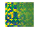 Abstract Geometric Brazil Flag Art by  cienpies